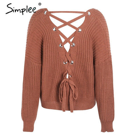 Back Lace Up Knitted Pullover - Milestonebuy