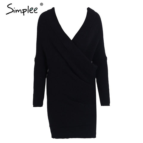 Elegant Long Sleeve Pullover Sweater Dress - Milestonebuy