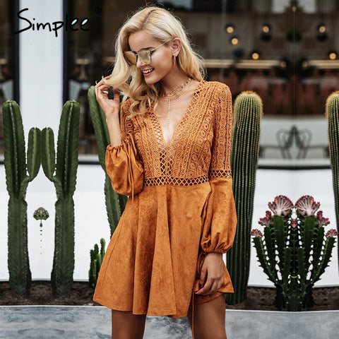 Sexy Lace Up V Neck Suede Lace Dress - Milestonebuy