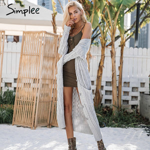 Knitting Long Cardigan Winter Sweater - Milestonebuy