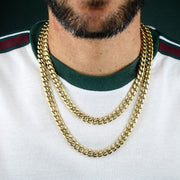 10mm Heavy Miami Cuban Link Chain in Gold