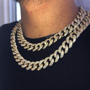 Iced Out Miami Cuban Link Choker Necklace in Gold