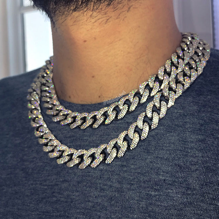 Iced Out Miami Cuban Link Choker Necklace in White Gold