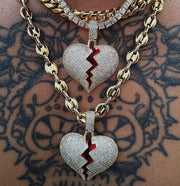 Iced Broken Heart Necklace