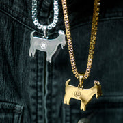 18K Iced Out Goat Pendant Necklace Set in Gold