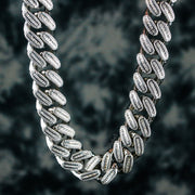 18mm Diamond Cuban Link Chain in White Gold
