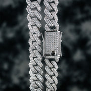 12mm Flooded Diamond Cuban Link Chain in White Gold