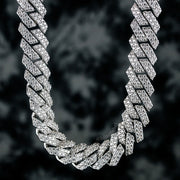 15mm Straight Edge Diamond Iced Cuban Link Chain in White Gold