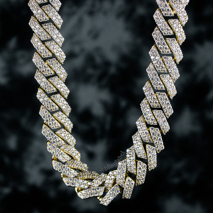 15mm Straight Edge Diamond Iced Cuban Link Chain in Gold