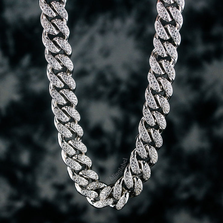 12mm Iced Out Cuban Link Choker Necklace in White Gold