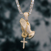 18K Gold Praying Hands Necklace Set