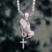 18K White Gold Praying Hands Necklace Set