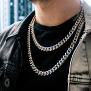 12mm Heavy Miami Cuban Link Chain in White Gold
