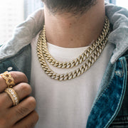 12mm Iced Out Cuban Link Choker Necklace in Gold