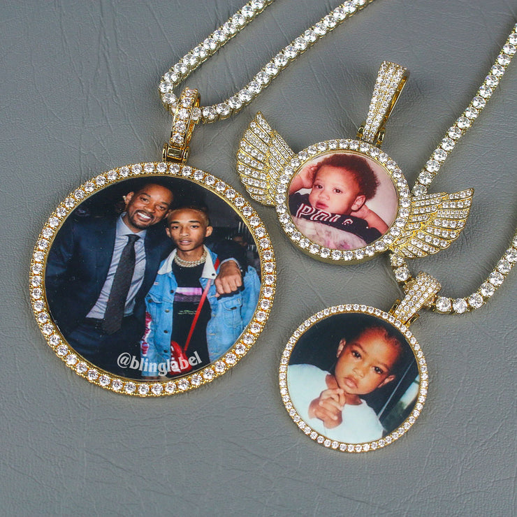 gold photo pendant chain