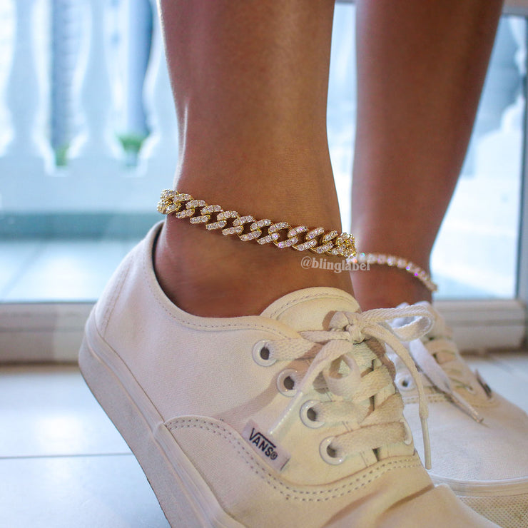 18K Diamond Butterfly Cuban Anklet in Gold