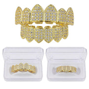 18K Gold Iced Out Diamond Grillz Set