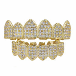 14K Gold Iced Out Diamond Grillz Set