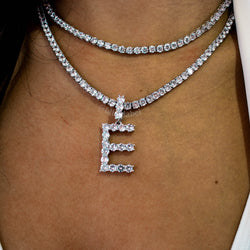 Tennis Custom Name Letter Necklace in White Gold - Single Letter