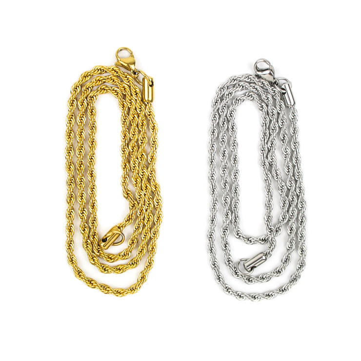 2.5mm Stainless Steel Rope Chain in Gold