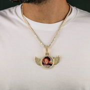 Iced Out Winged Picture Pendant in Gold