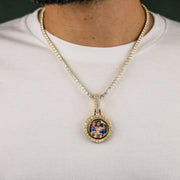 Iced Out Rotating Picture Pendant in Gold
