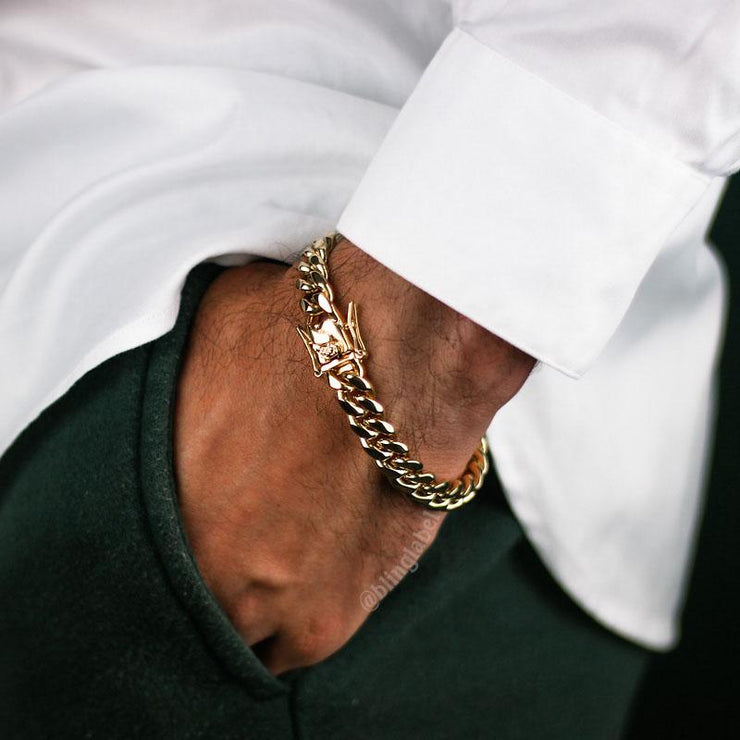 Miami Cuban Link Chain + Bracelet Set in Gold