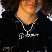 Iced Out Womens Curly Letter Pendant in Gold