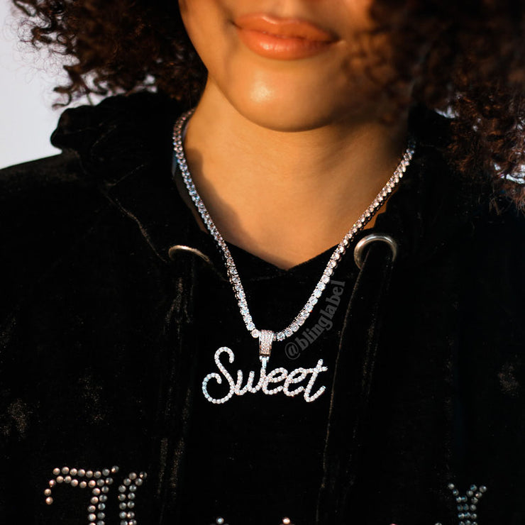 Iced Out Womens Curly Letter Pendant in White Gold