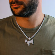18K Iced Out Goat Pendant Necklace Set in White Gold