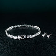 Tennis Bracelet and CZ Stud Earrings Set in White Gold