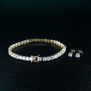 Tennis Bracelet and CZ Stud Earrings Set in Gold