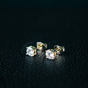 18K Plated Iced Out Stud Earrings in Gold