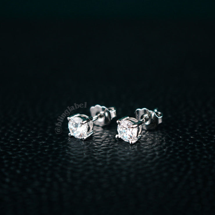 18K Plated Iced Out Stud Earrings in White Gold