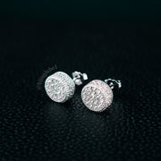 Iced Out 925 Sterling Silver Stud Earrings in White Gold