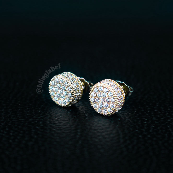 Iced Out 925 Sterling Silver Stud Earrings in Gold