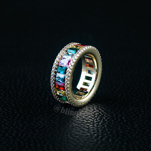 Rainbow Exquisite Infinity Ring in Gold
