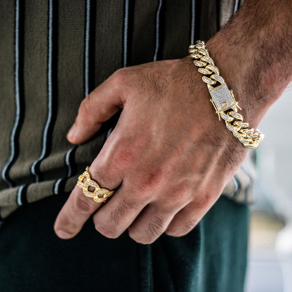 Iced Out Cuban Link Bracelet & Ring Set