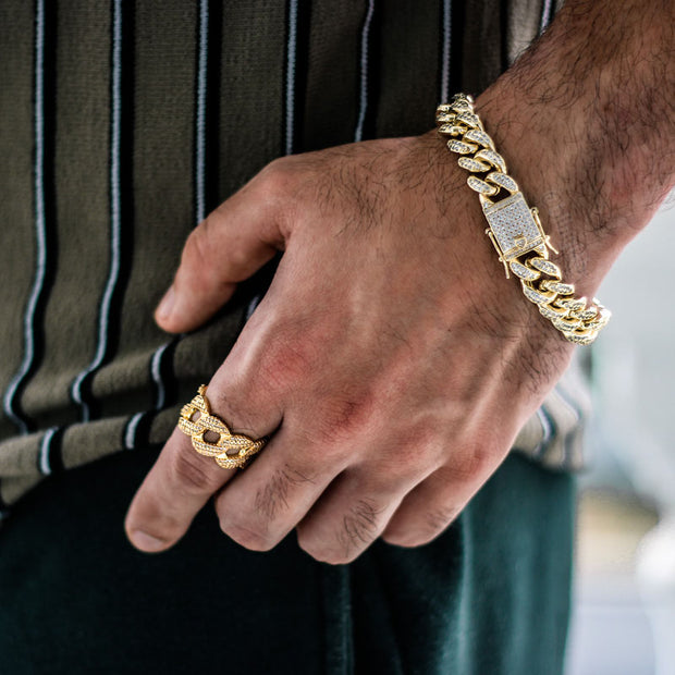 12mm Cuban Link Bracelet + 12mm Cuban Link Ring Set in Gold