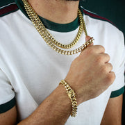12mm Heavy Miami Cuban Link Chain in Gold