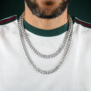 10mm Heavy Miami Cuban Link Chain in White Gold