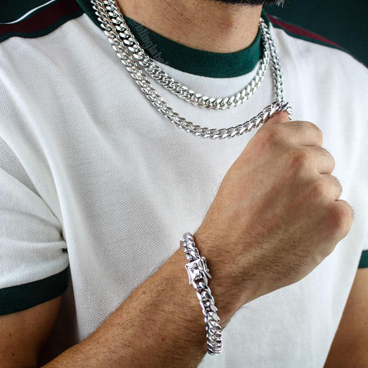 Miami Cuban Link Chain + Bracelet Set in White Gold