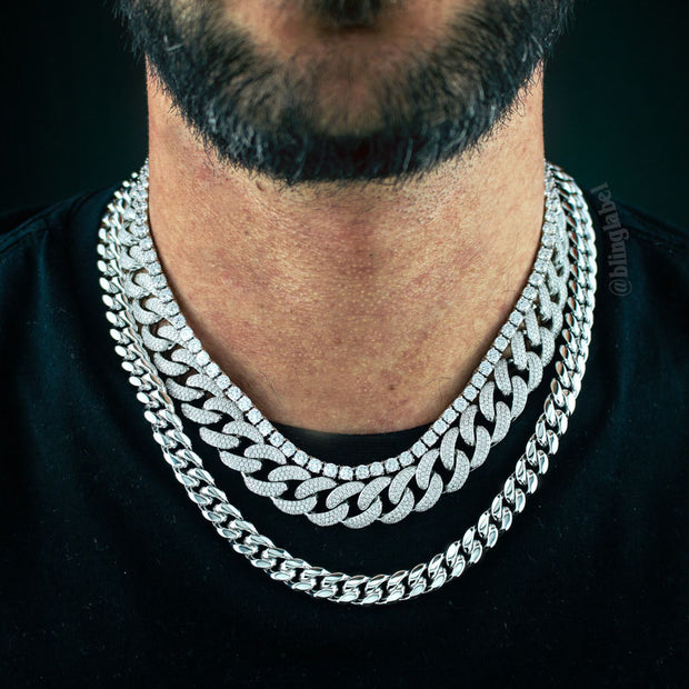 Quavo Migos Choker Chains Set in White Gold