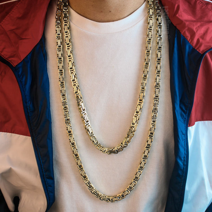 8mm Large Stainless Steel Byzantine Chain in Gold