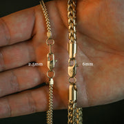 2.5mm Franco Box Chain in Gold