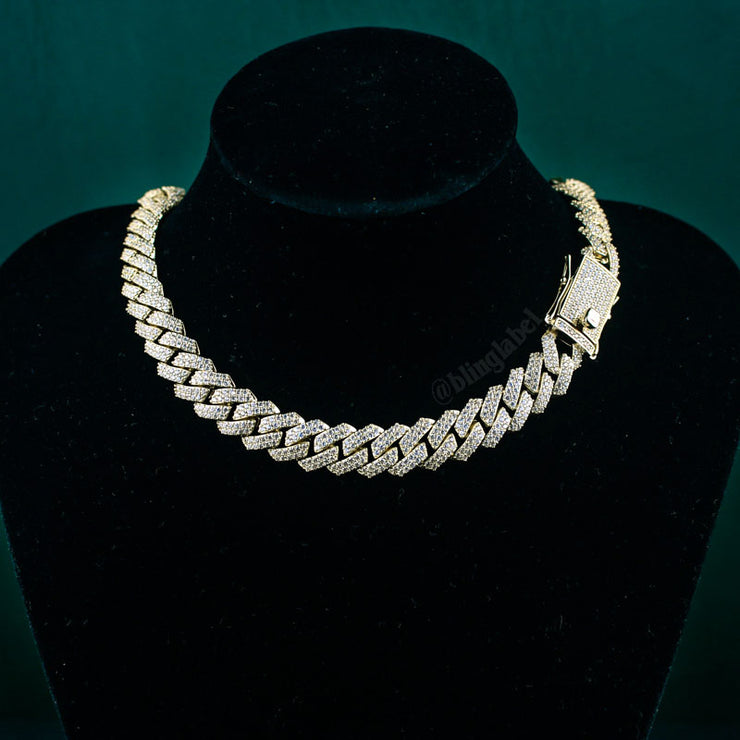 12mm Flooded Diamond Cuban Link Chain in Gold