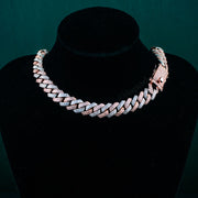 12mm Flooded Diamond Cuban Link Chain in Duo Tone