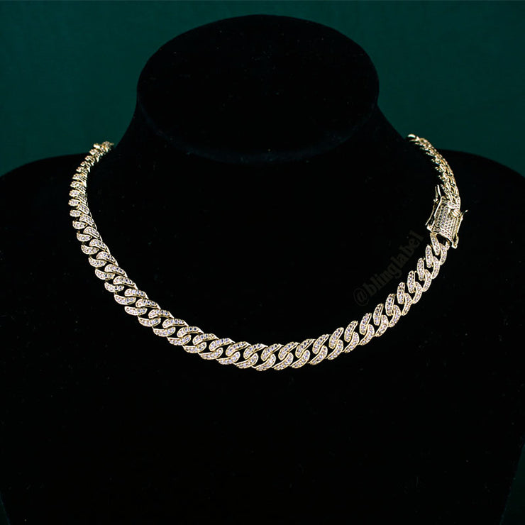 8mm Diamond Cuban Link Choker Chain in Gold
