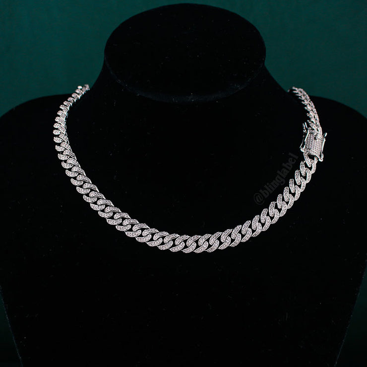 8mm Diamond Cuban Link Chain in White Gold