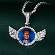 Iced Out Winged Picture Pendant in White Gold